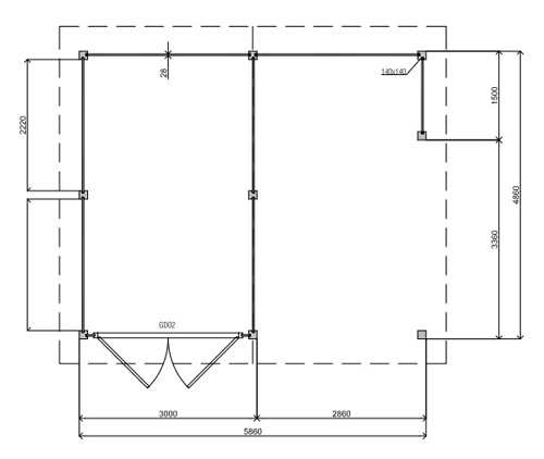 Woodville PW05 log cabin plan