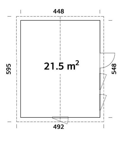 Charlotte 21.5sqm log cabin plan