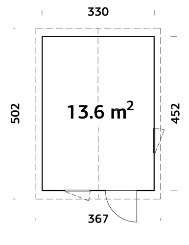 Ly 13.6sqm log cabin plan